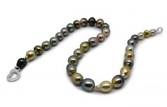 16 pulgadas Multicolor 8-10mm Calidad Barroco Collar de Perlas Tahití y Plata esterlina 925