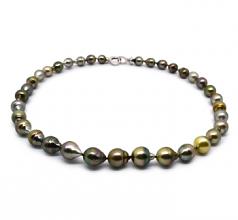 17 pulgadas Multicolor 8-10mm Calidad Barroco Collar de Perlas Tahití y Plata esterlina 925