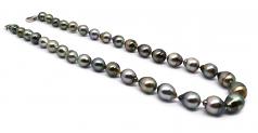 17 pulgadas Multicolor 8-11mm Calidad Barroco Collar de Perlas Tahití y Plata esterlina 925