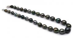 17 pulgadas Multicolor 8-14mm Calidad Barroco Collar de Perlas Tahití y Plata esterlina 925