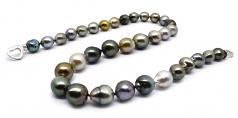 17 pulgadas Multicolor 9-12mm Calidad Barroco Collar de Perlas Tahití y Plata esterlina 925
