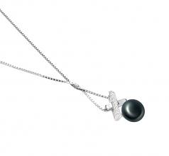 Klarita Negro 7-8mm Calidad AAA Colgante de Perla de Agua Dulce y Plata esterlina 925