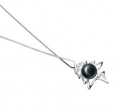 Espina de pez Negro 7-8mm Calidad AA Colgante de Perla de Agua Dulce y Plata esterlina 925