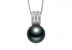 Colette Negro 12-13mm Calidad AAA Colgante de Perla Tahití y Plata esterlina 925
