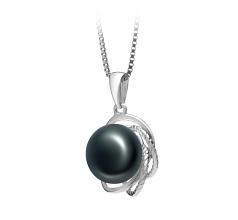 Bobbie Negro 9-10mm Calidad AA Colgante de Perla de Agua Dulce y Plata esterlina 925