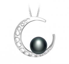 Luna Negro 9-10mm Calidad AAA Colgante de Perla de Agua Dulce y Plata esterlina 925