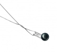 HIRIKO Negro 9-10mm Calidad AA Colgante de Perla de Agua Dulce y Plata esterlina 925