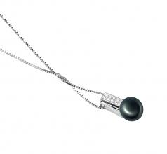 Alina Negro 8-9mm Calidad AAA Colgante de Perla de Agua Dulce y Plata esterlina 925