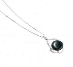 Alyssa Negro 12-13mm Calidad AA Colgante de Perla de Agua Dulce y Plata esterlina 925