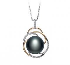 Zina Negro 12-13mm Calidad AA Colgante de Perla de Agua Dulce y Plata esterlina 925