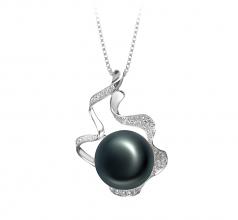 Oceane Negro 12-13mm Calidad AA Colgante de Perla de Agua Dulce y Plata esterlina 925
