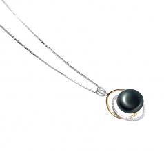 Judith Negro 12-13mm Calidad AA Colgante de Perla de Agua Dulce y Plata esterlina 925