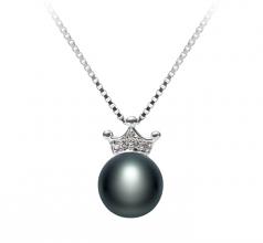 Crown Negro 8-9mm Calidad AAA Colgante de Perla de Agua Dulce y Plata esterlina 925