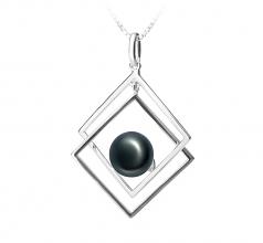 Lilian Negro 8-9mm Calidad AAA Colgante de Perla de Agua Dulce y Plata esterlina 925