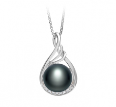 Lori Negro 10-11mm Calidad AAA Colgante de Perla de Agua Dulce y Plata esterlina 925