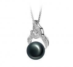 Bebra Negro 10-11mm Calidad AAA Colgante de Perla de Agua Dulce y Plata esterlina 925