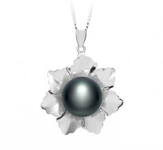 Zoe Negro 11.5-12mm Calidad AA Colgante de Perla de Agua Dulce y Plata esterlina 925