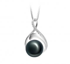 Daiya Negro 10-11mm Calidad AAA Colgante de Perla de Agua Dulce y Plata esterlina 925
