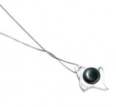 Freda Negro 10-11mm Calidad AAA Colgante de Perla de Agua Dulce y Plata esterlina 925
