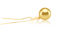 Gisela Oro 10-11mm Calidad AAA Colgante de PerlaMar del Sur y Oro amarillo 14K