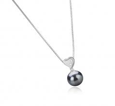 Taima - Heart Negro 9-10mm Calidad AAA Colgante de Perla Tahití y Plata esterlina 925