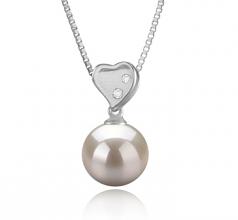 Taima Heart Blanco 9-10mm Calidad AAAA Colgante de Perla de Agua Dulce y Plata esterlina 925