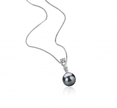Kendra Negro 8-9mm Calidad AAAA Colgante de Perla de Agua Dulce y Plata esterlina 925