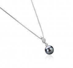 Miriah Negro 8-9mm Calidad AAAA Colgante de Perla de Agua Dulce y Plata esterlina 925