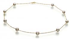 Tin Cup Blanco 7-8mm Calidad AAA Collar de Perlas Akoya Japonesa y Oro amarillo 14K