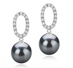 Sabrina Negro 9-10mm Calidad AAA Pendientes de Perlas Tahití y Plata esterlina 925