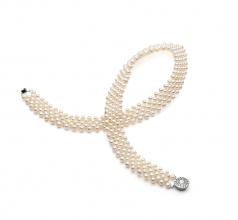 Con cuello en v Blanco 3-4mm Calidad AA Collar de Perlas de Agua Dulce