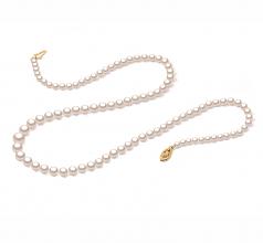 Blanco 3.7-7.5mm Calidad AAA Collar de Perlas Akoya Japonesa y Lleno de oro