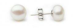 Blanco 8-8.5mm Calidad AA Pendientes de Perlas de Agua Dulce