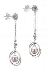 Misha Blanco 6-7mm Calidad AA Pendientes de Perlas Akoya Japonesa y Plata esterlina 925