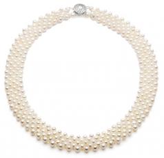 Fila cinco Blanco 3-4mm Calidad AA Collar de Perlas de Agua Dulce
