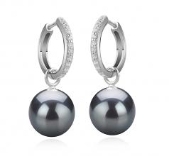 Largos de perlas Olivia Negro 10-11mm Calidad AAA Pendientes de Perlas Tahití y Plata esterlina 925