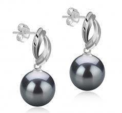 Assina Abstract Negro 9-10mm Calidad AAA Pendientes de Perlas Tahití y Plata esterlina 925