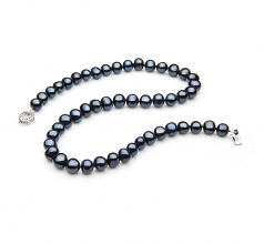 Sencillo Negro 7-8mm Calidad A Collar de Perlas de Agua Dulce y Plata esterlina 925
