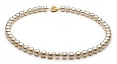Blanco 7-8mm Calidad AAAA Conjunto de Perlas de Agua Dulce y Lleno de oro