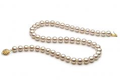 Blanco 7-8mm Calidad AAA Collar de Perlas de Agua Dulce y Lleno de oro