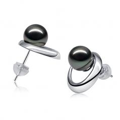 Perlas negras Sol Naciente Negro 9-10mm Calidad AAA Pendientes de Perlas Tahití y Oro blanco 14K