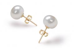 Blanco 7-8mm Calidad AAA Pendientes de Perlas de Agua Dulce