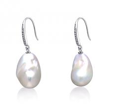 Blanco 12-13mm Calidad AA+ Pendientes de Perlas Agua Dulce - Edison y Plata esterlina 925
