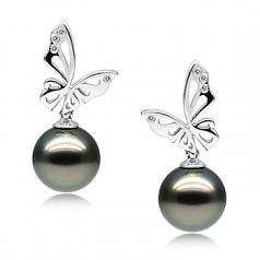 Perlas negras Mariposa Negro 10-11mm Calidad AAA Pendientes de Perlas Tahití y Oro blanco 14K