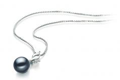 Zalina Negro 7-8mm Calidad AAAA Colgante de Perla de Agua Dulce y Plata esterlina 925