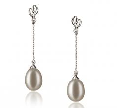 Reese Blanco 7-8mm Calidad AA Pendientes de Perlas de Agua Dulce y Plata esterlina 925