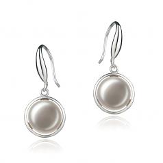 Holly Blanco 9-10mm Calidad AA Pendientes de Perlas de Agua Dulce y Plata esterlina 925