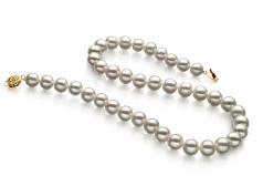 Blanco 9-10mm Calidad AAA Collar de Perlas de Agua Dulce y Lleno de oro