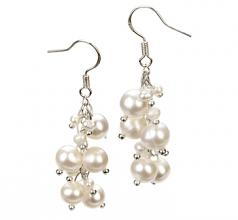 Brisa Blanco 3-7mm Calidad A Pendientes de Perlas de Agua Dulce y Aleación