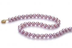 Lavanda 7.5-8mm Calidad AAA Collar de Perlas de Agua Dulce y Lleno de oro